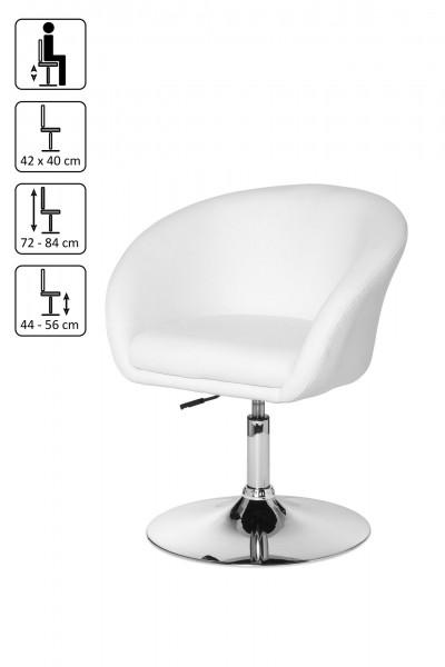 Design  Cocktailstuhl mit elegantem Trompetenfuss Loungesessel im modern interpretiertem Retro Look Abmessungen  Hoehe: 72 - 84 cm Breite: 62 cm Tiefe: 55 cm Sitztiefe: 40 cm Sitzbreite: 42 cm Sitzhoehe: 44 - 56 cm Fuss: Ø 50cm Belastbarkeit: max. 1