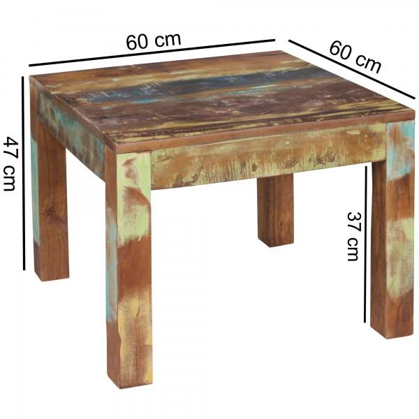 Design  Geradliniger Couchtisch im Shabby-Chic-Design Quadratische Tischplatte zur Ablage von diversen Utensilien Individuelle Maserung und Farbgestaltung Fester Stand dank der massiven Tischbeine Abmessungen  Breite: 60 cm Hoehe: 47 cm Tiefe: 60 cm