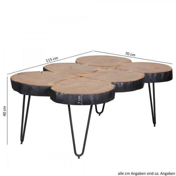 Wofuer geeignet? Mit einer Breite von 115 cm und einer Tiefe von 70 cm bietet er genuegend Abstellmoeglichkeiten um einen schoenen Abend im Wohnzimmer zu verbringen - Tischplatten im Baumstammform als absolutes Highlight   FSC® zertifizierte Ware: B