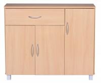 Design  Modernes und zeitloses Design Ausgestattet mit drei Tueren &amp  einer Schublade Elegante Griffe in Aluminium-Optik Unkompliziertes Design mit...