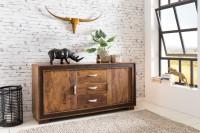 Design  Grosse Kommode im rustikalen Landhausstil Konsole mit drei Schubladen und vier Stauraumfaechern Kunstlederapplikation umrandet die Front des...