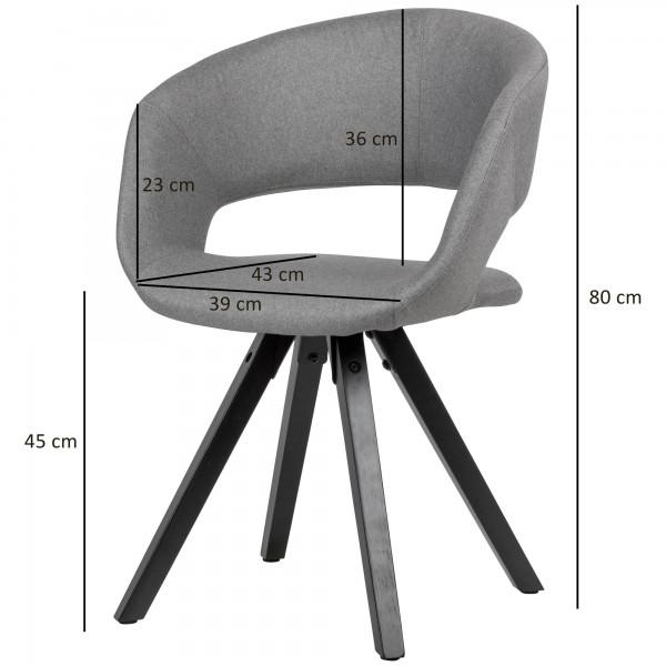 Design  Trendiger Esszimmerstuhl im coolen Retro-Design Geschwungene &amp  gepolsterte Sitzschale mit Rueckenlehne Das massive Vierbeingestell rundet das Design gekonnt ab Abmessungen   Breite: 56 cm Hoehe: 80 cm Tiefe: 50 cm Sitzhoehe: 45 cm  Sitzfl