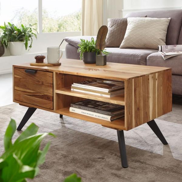 Couchtisch 95x45x45 cm Akazie Wohnzimmertisch Massivholz Rechteckig | Holztisch mit Stauraum | Sofatisch mit Schublade | Tisch Wohnzimmer Massiv