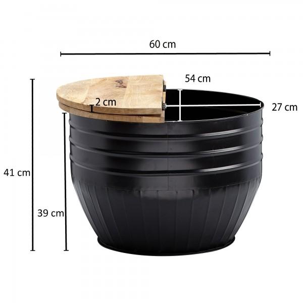 Design  Aussergewoehnlicher Couchtisch im angesagten Industrial-Stil Runde Tischplatte zur Ablage von diversen Utensilien Fester und stabiler Stand dank des robusten Metallkoerpers Abmessungen  Breite: 60 cm Hoehe: 41 cm Tiefe: 60 cm Hoehe des Staufa