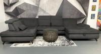 Wohnlandschaft MM Miami mit Sitztiefenverstellungen & Bettkasten Anthrazit Luxus-WebstoffFlachgewebe
