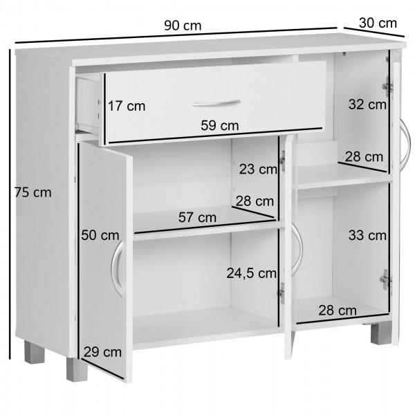 Design  Modernes und zeitloses Design Ausgestattet mit drei Tueren &amp  einer Schublade Elegante Griffe in Aluminium-Optik Unkompliziertes Design mit klaren Formen Abmessungen  Breite: 90 cm Hoehe: 75 cm Tiefe: 30 cm Schubkasten innen: 52 x 24 x 10