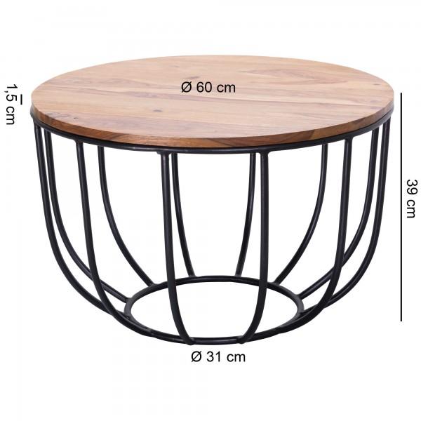 Design  Charmanter Couchtisch im angesagten Industrial-Stil Runde Tischplatte zur Ablage von diversen Utensilien Tisch versprueht Leichtigkeit durch sein offenes Korbgestell Abmessungen  Breite: 60 cm Hoehe: 39 cm Tiefe: 60 cm Hoehe der Tischplatte: