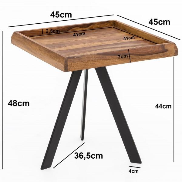 Design  Massiver Beistelltisch im angesagten Industrial-Design Materialmix aus naturbelassenem Holz und robustem Metall Grosse Tischplatte mit stabilem Tischgestell Abmessungen  Breite: 45 cm Hoehe: 48 cm Tiefe: 40 cm Tischplattenstaerke: 4,5 cm Weit