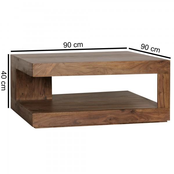 Sie sind auf der Suche nach einem modernen und praktischem Couchtisch fuer Ihr zuhause? Massivholz Couchtische von WOHNLING.   Wofuer geeignet? Mit einer Breite von 90 cm und einer Tiefe von 90 cm passt er perfekt ins Wohnzimmer und bietet ausreichen