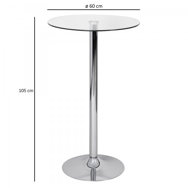 Design  Hochwertige Tischplatte aus 10mm dicken Sicherheitsglas Runde Tischplatte (Ø 60 cm) Fussgestell in eleganter Trompetenform Metall verchromtes Gestell sorgt fuer optimale Stabilitaet Besonderheiten  Tischplatte um 360° drehbar Material  Plat