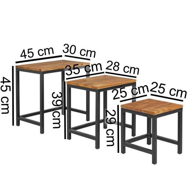 Design  Beistelltische im modernen  Materialmix Anstelltischset in drei verschiedenen Groessen Drei Blumentische mit Holzplatte und Metallbeinen Abmessungen Grosser Tisch:  Breite: 45 cm Hoehe: 45 cm Tiefe: 30 cm Mittlerer Tisch:  Breite: 35,5 cm Hoe