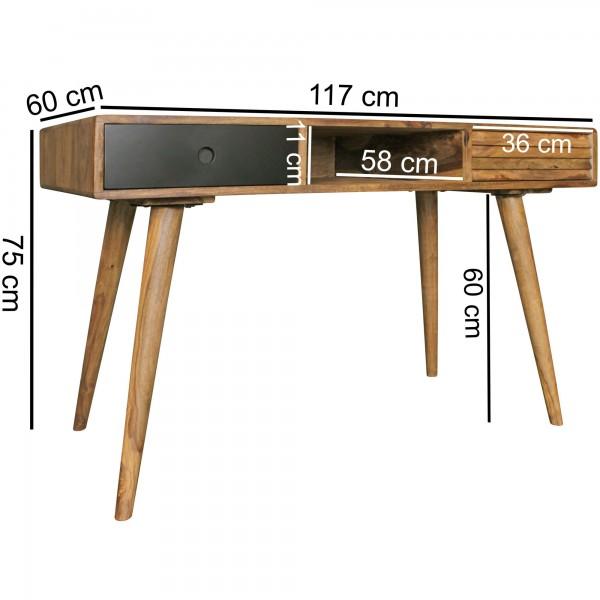 Design  Schreibtisch im angesagten Retro-Look Grosszuegige Tischplatte fuer angenehmes Arbeiten am Tisch Genuegend Stauraum durch zwei Schubladen und einem offenen Ablagefach Schubladen sind verschieden gestaltet und haben unterschiedliche Farben Abm