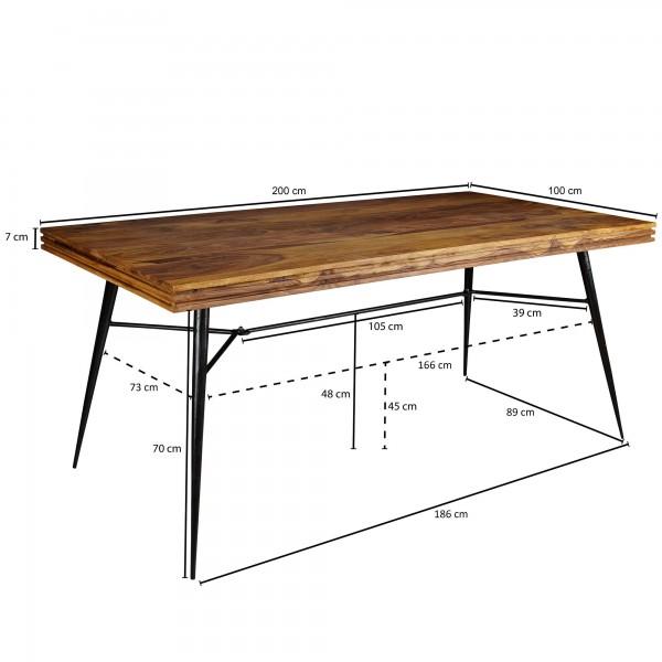 Design  Aussergewoehnlicher Esstisch im angesagten Industrial-Look Grosse Tischplatte bietet viel Ablageflaeche fuer Speisen und Getraenke Individuelle Maserung und Farbgestaltung machen jeden Tisch einzigartig Hohe Stabilitaet dank der robusten Tisc