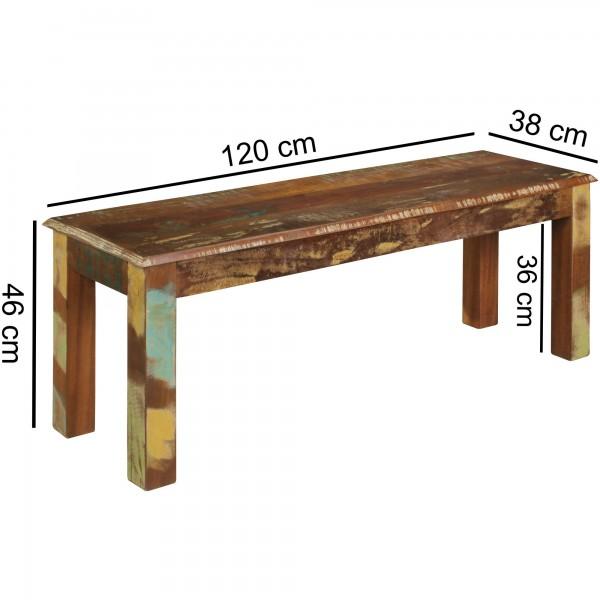Design  Hochwertig verarbeitete Essbank im Shabby Chic Individuelle Farbgebung und Maserung fuer einen besonderen Charme Rechteckige &amp  grosszuegige Sitzflaeche Abmessungen  Breite: 120 cm Hoehe: 45 cm Tiefe: 38 cm Beinstaerke (B x T): 6,5 x 6,5 c