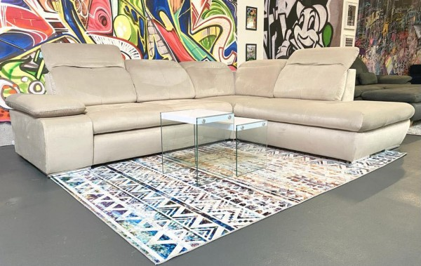 "Sofa ""Avilla"" in Beige Stoff mit Samthaptik/Samtvelours 285 x 235 cm"