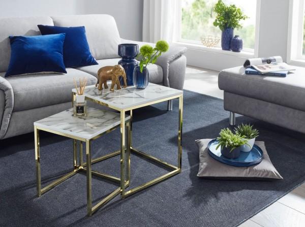 Design  Zwei quadratische Beistelltische in modernem Stil Tischplatten stechen durch die edle Marmor Optik hervor Dekotische mit einem robustem Metallgestell Abmessungen Grosser Tisch  Breite: 45 cm Hoehe: 50 cm Tiefe: 45 cm Maximale Belastbarkeit: 5