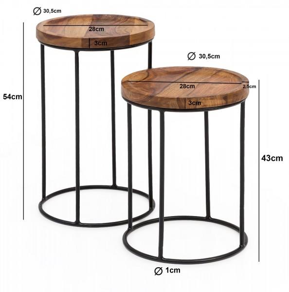 Design  Zweiteiliger Satztisch im angesagten Industrial-Design Materialmix aus massivem Holz und robustem Metall Natuerlich gehaltene Tischplatten mit schwarzen Tischgestellen Abmessungen BxHxT  Grosser Tisch: 30,5 x 54 x 30,5 cm Kleiner Tisch: 30,5
