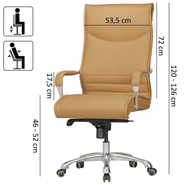 Design  Bequemer XXL Chefsessel mit besonders breiter Rueckenlehne und Sitzflaeche Sitzflaeche und Rueckenlehne sind ergonomisch geformt Elegante und ueppige Polsterung mit hochwertigem Kunstlederbezug Hochwertige Aluminium-Armlehnen mit weicher Lede