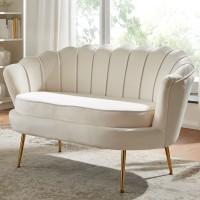 Design 2-Sitzer Sofa Samt Weiß 130 x 84 x 75 cm | Kleine Couch für zwei Personen | Moderne Polstergarnitur Schmal mit goldenen Beinen