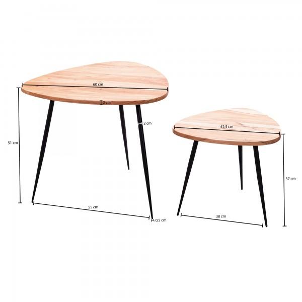 Design  Zwei elegante Beistelltische im modernen Design Die schwarzen Metallbeine betonen den angesagten Industrial Style Tischplatten der kleinen Sofatische in Nierenform Drei grazile, nach aussenstehende Tischbeine sorgen fuer einen sicheren Stand