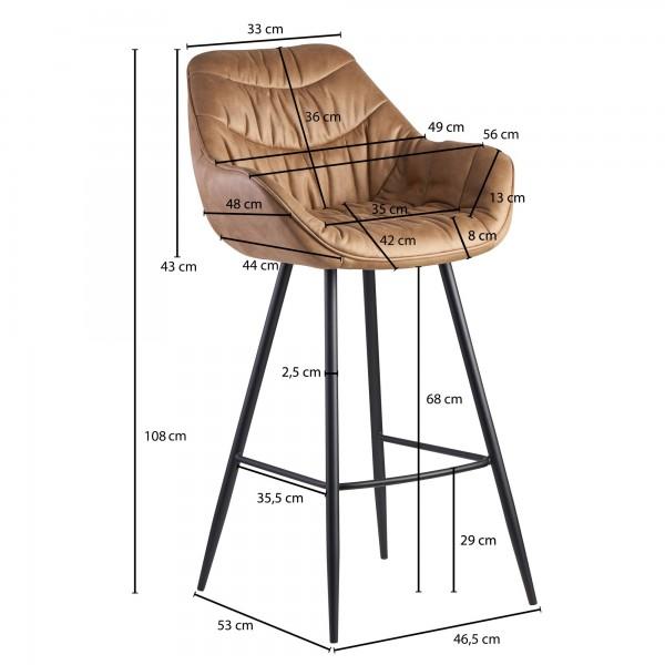 Design  Moderner Barhocker in skandinavischem Design Angenehm geformte Sitzschale mit ueppiger Polsterung fuer hohen Sitzkomfort Vier robuste Standbeine als Kontrast zum weichen Stoffbezug Abmessungen  Breite: 56 cm Hoehe: 108 cm Tiefe: 59 cm Sitzhoe