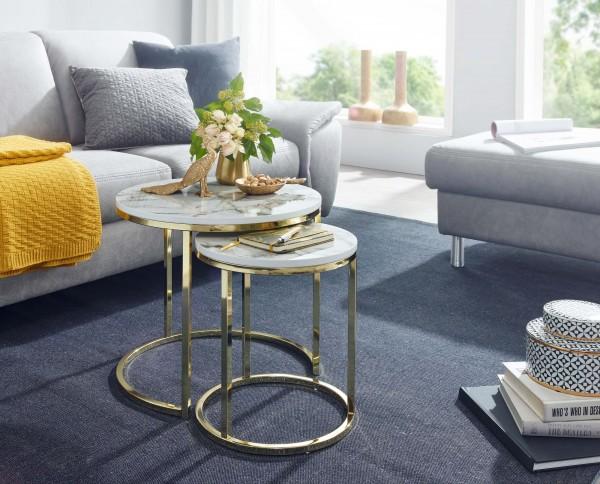 Design  Zwei runde Beistelltische in modernem Stil Tischplatten stechen durch die edle Marmor Optik hervor Dekotische mit einem robustem Metallgestell Abmessungen Grosser Tisch  Breite: 50 cm Hoehe: 45 cm Tiefe: 50 cm Maximale Belastbarkeit: 5 kg Kle