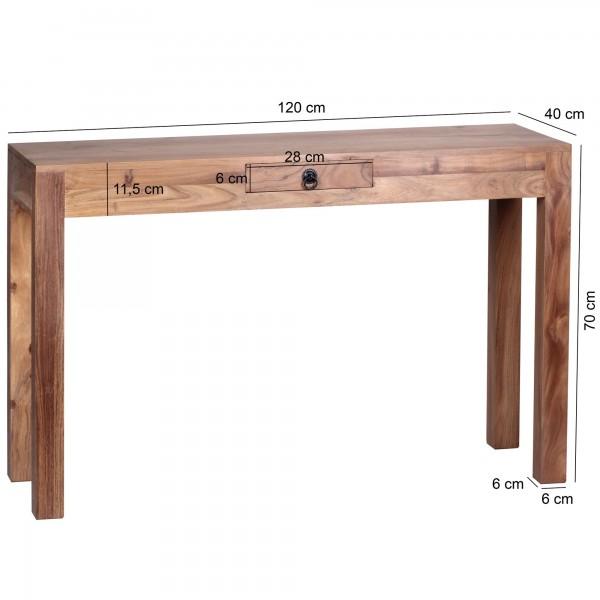 Wofuer geeignet? Durch die Hoehe von 70 cm ist die Konsole sowohl als Esstisch, als auch als Schreibtisch fuer die kleine Arbeitsecke verwendbar. Die Tiefe von 40 cm macht das Produkt sehr platzsparend und flexibel.   FSC® zertifizierte Ware: Bei de