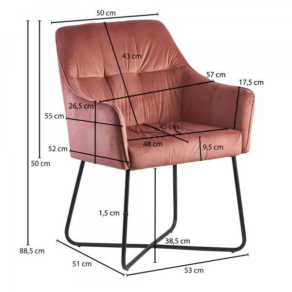 Design  Attraktiver Esszimmerstuhl in modernem Design Angenehm geformte Sitzschale mit Armlehnen fuer hohen Sitzkomfort Dekorative Ziernaehte auf der Sitzflaeche &amp  Rueckenlehne Metallbeinkonstruktion als Kontrast zum weichen Samtbezug Abmessungen