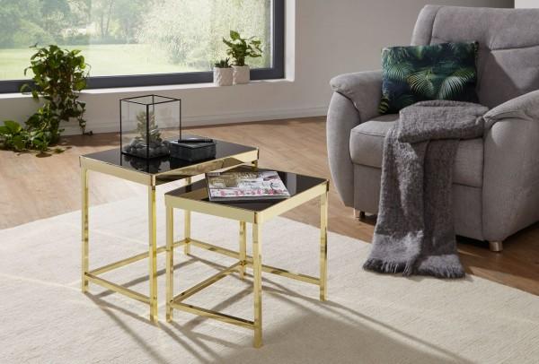 Design  Satztisch 2er-Set im unverwechselbaren Design Stylische und moderne Satztische im angesagten Gold-Look Spiegelnde Tischplatten auf hochglanz Metallgestell Abmessungen   Breite: 48 / 42 cm Hoehe: 46 / 40 cm Tiefe: 36 / 34 cm Farbe  Glasplatte: