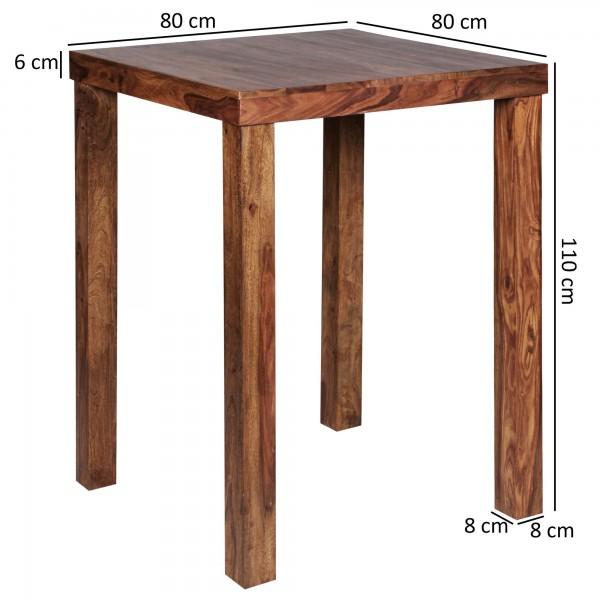 Design  Rustikaler Bartisch mit 4 stabilen Standbeinen Einzigartige Maserung macht den Tisch zu einem Blickfang Grosse Ablage zum Abstellen von Getraenken und Knabbereien Abmessungen  Breite: 80 cm Hoehe: 110 cm Tiefe: 80 cm Fuesse: 8 x 8 cm Hoehe Se