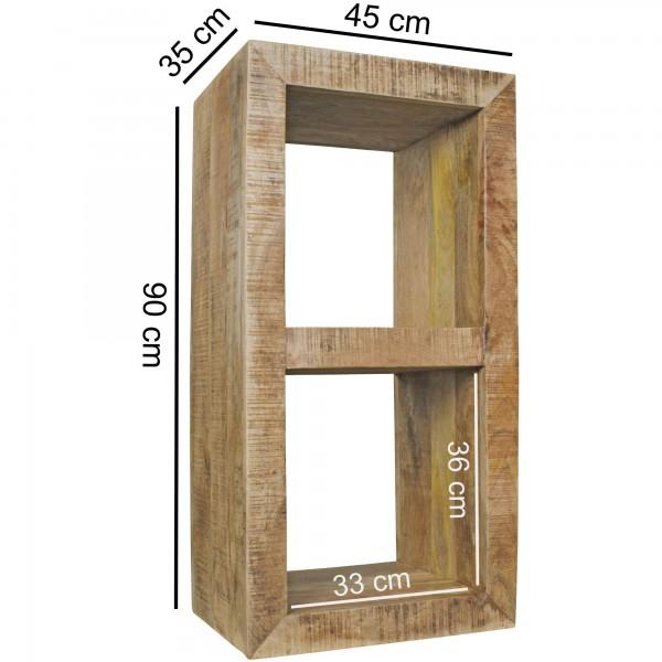 Design  Schlichtes, rustikales Cube Regal mit zwei Faechern Vielseitig nutzbares Standregal im rustikalen Landhaus Stil Zwei Innenraeume dienen als zusaetzliche Ablagemoeglichkeiten Individuelle Maserung und Farbgestaltung Abmessungen  Gesamtmass B x