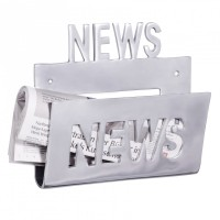 Design  Ein echter Blickfang: Ein Deko Zeitungshalter aus Aluminium Schriftzug News - optisches Highlight Hochwertige Verarbeitung Grosses Ablagefach...