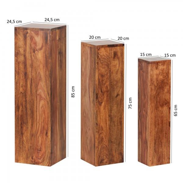 Design  Attraktive Beistelltische mit einzigartiger Maserung Dreier-Set auch alleinstehend platzierbar Alle Ablageflaechen in quadratischer Form Jeder Beistelltisch in Saeulenform Abmessungen   Grosser Tisch (BxHxT): 24,5x85x24,5 cm Mittlerer Tisch (
