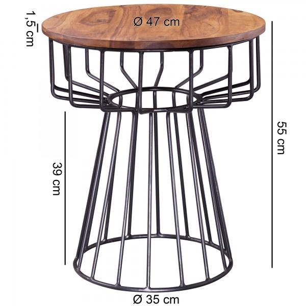 Design  Massiver Beistelltisch im angesagten Industrial-Design Materialmix aus naturbelassenem Holz und robustem Metall Grosse Tischplatte mit stabilem Tischgestell Abmessungen  Breite: 47 cm Hoehe: 55 cm Tiefe: 47 cm Tischplattenstaerke: 1,5 cm Weit