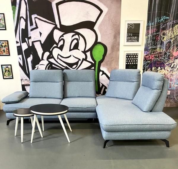 Ecksofa Tokyo mit Sitztiefenverstellungen & Schlaffunktion Grau/Blau Luxus-Webstoff
