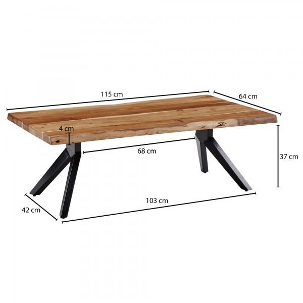 Design  Auffaelliger Couchtisch im angesagten Industrial-Stil Ausdrucksstarke Baumkanten an zwei Seiten der Tischplatte Rechteckige Tischplatte zur Ablage von diversen Utensilien Fester Stand dank des massivem Metallgestells Abmessungen  Breite: 115