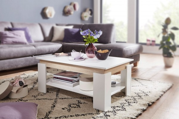 Design  Sofatisch im modernen Design Grosser Wohnzimmertisch mit klarer Linienfuehrung Geraeumiges Ablagefach und grosszuegige Tischplatte Abmessungen  Breite: 86,5 cm Hoehe: 40 cm Tiefe: 58,5 cm Hoehe des Ablagefachs: 24,5 cm Tischplattenstaerke: 1,