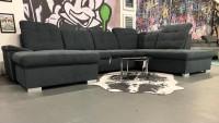 Wohnlandschaft Nicole Dunkelgrau Luxus-Webstoff/Fein 155 x 338 x 210 cm