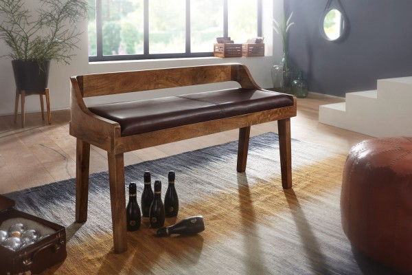 Design  Moderne Sitzbank mit praktischer Rueckenlehne Wunderschoener und stimmiger Materialmix aus Holz und Leder Bietet eine Sitzgelegenheit fuer bis zu zwei Personen Abmessungen  Breite: 108 cm Hoehe: 63 cm Tiefe: 43 cm Polsterhoehe: 6 cm Sitzhoehe