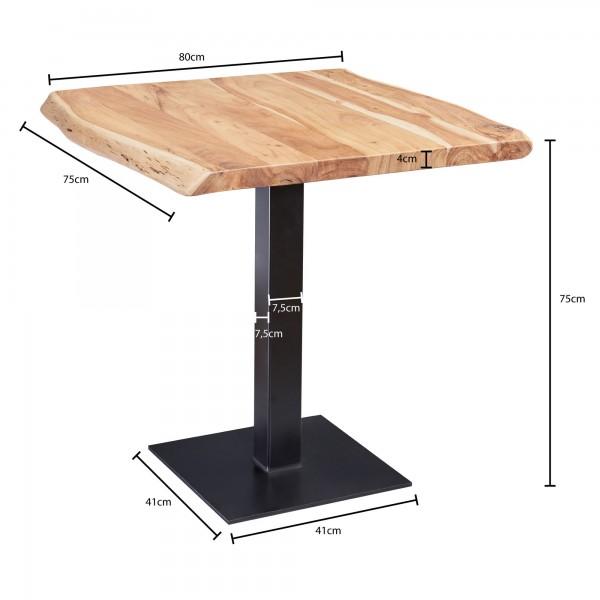 Design  Holztisch in modernem Landhausstil Tischplatte mit einzigartiger Maserung Quadratische Form der Tischplatte mit unregelmaessigen Kanten Robuster Standfuss in Saeulenform Abmessungen  Breite: 80 cm Hoehe: 75 cm Tiefe: 75 cm Tischplattenstaerke