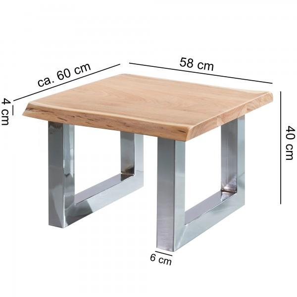 Design  Couchtisch im charakterstarken Landhaus-Stil Quadratische Tischplatte zur Ablage von diversen Utensilien Baumkanten an zwei Tischkanten als absoluter Hingucker Fester Stand dank der stabilen Metallbeine Abmessungen  Breite: 58 cm Hoehe: 40 cm