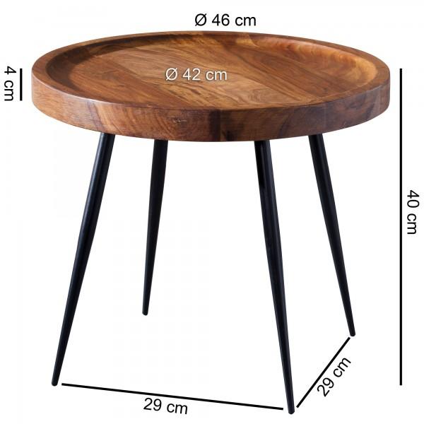Design  Massiver Beistelltisch im angesagten Industrial-Design Materialmix aus naturbelassenem Holz und robustem Metall Grosse Tischplatte mit stabilem Tischgestell Abmessungen  Breite: 46 cm Hoehe:  40 cm Tiefe: 46 cm Tischplattenstaerke: 4 cm Weite
