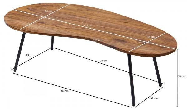 Design  Couchtisch im angesagten Retro Design Tischplatte mit der typischen 50er Jahre Nierenform Fester Stand dank der stabilen Metallbeine Abmessungen  Breite: 122 cm Hoehe: 36 cm Tiefe: 63 cm Boden bis Tischunterkante: ca. 33,5 cm Weitere Masse si