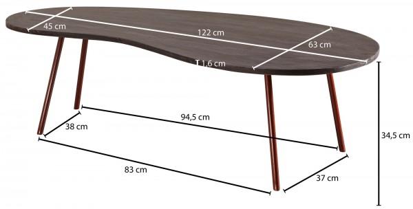 Design  Couchtisch im angesagten Retro-Design Tischplatte mit der typischen Nierenform der 50er-Jahre Fester Stand dank der stabilen Metallbeine Abmessungen  Breite: 122 cm Hoehe: 34,5 cm Tiefe: 63 cm Boden bis Tischunterkante: ca. 33 cm Weitere Mass