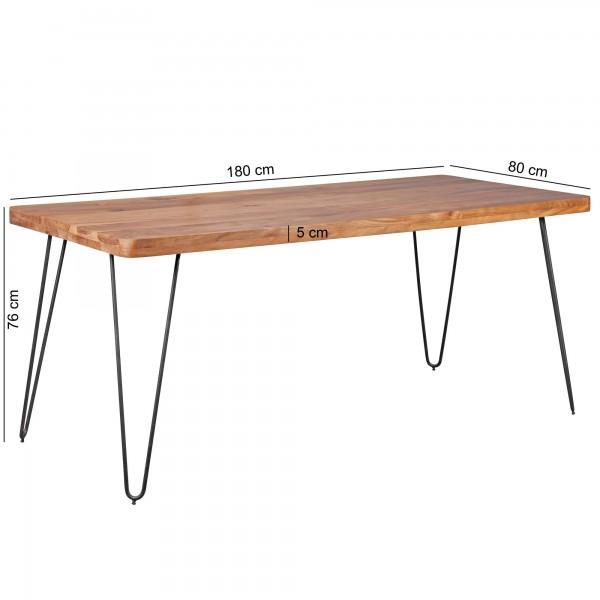 Design  Ein Esstisch im modernen Design mit abgerundeten Tischecken Rechteckige Tischlatte zur Ablage von Geschirr und diversen Gegenstaenden Vier stabile Metallbeine verleihen dem Tisch einen Industrial Flair Abmessungen  Breite: 180 cm Hoehe: 76 cm