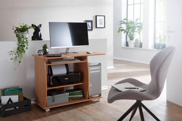 Design  Moderner Computertisch mit einer Ablage fuer einen PC Zeitloses Design - fuegt sich perfekt in Ihr vorhandenes Mobiliar ein Viele Ablagemoeglichkeiten fuer unbeschwertes Arbeiten Abgerundete 3D Ecken und Sichtblenden runden das Design ab Abme