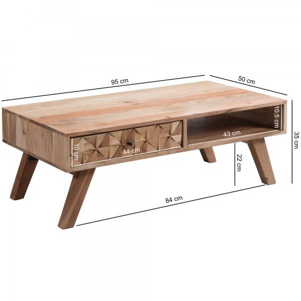 Design  Bezaubernder Couchtisch im modern interpretierten Landhaus-Stil Rechteckige Tischplatte zur Ablage von diversen Utensilien Ausgestattet mit einer Schublade und einem offenen Ablagefach Viele kleine Dreiecke bilden die wunderschoene Schubladen