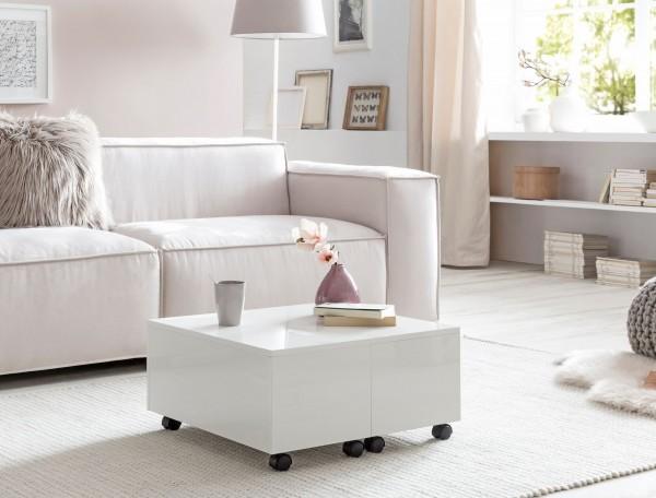 Design  Moderner Couchtisch im zeitlosen Design Sofatisch mit integrierter Schublade Tisch in quadratischer Form mit schoenen Hochglanzfronten Abmessungen  Breite: 60 cm Hoehe: 40 cm Tiefe: 60 cm Innenmass Schubladenfach (BxHxT): 52,5 x 17,5 x 52,5 c