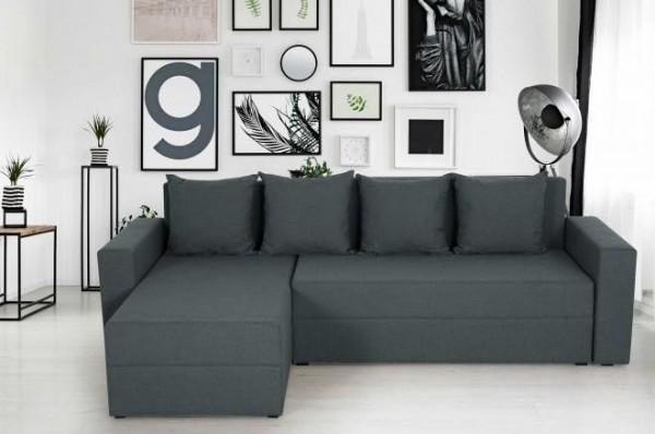 """Sofa """"Dino"""" mit Schlaffunktion/Bettkasten Anthrazit Strukturstoff 145 x 235 cm"""