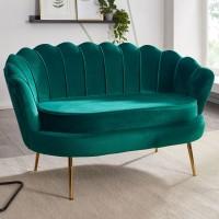 Design 2-Sitzer Sofa Samt Grün 130 x 84 x 75 cm | Kleine Couch für zwei Personen | Moderne Polstergarnitur Schmal mit goldenen Beinen